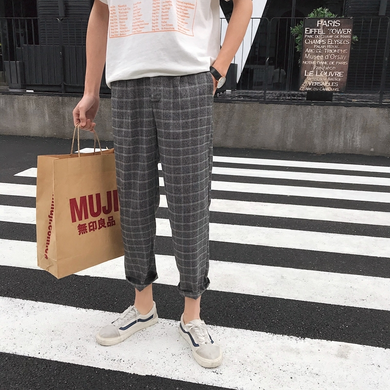 2018 Spring And Summer New Mens Fashion Tide Lattice Straight Ankel-length Pants Loose Casual Black/Coffee Color Trousers M-2XL