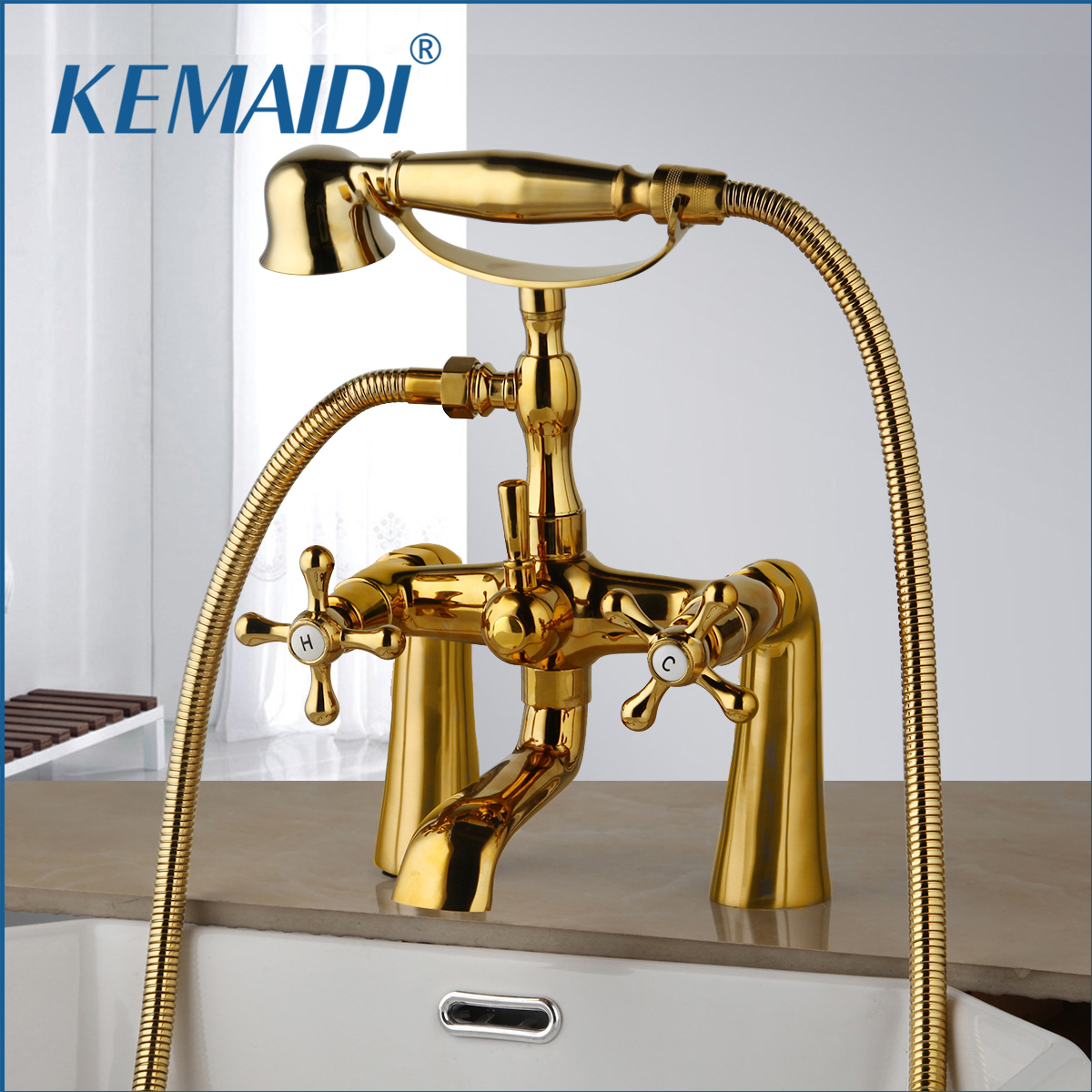 KEMAIDI Antique Brass Golden Bathtub Shower Faucets Set Dual Knobs Mixer Tap Deck Mounted Bath Shower