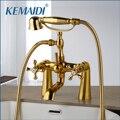 KEMAIDI Antike Messing Goldene Badewanne Dusche Armaturen Set Dual Knöpfe Mischbatterie Deck Montiert Bad Dusche Swivel Badewanne Auslauf Dusche