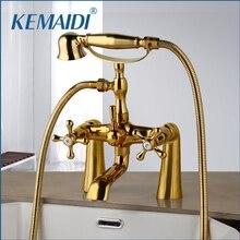 مجموعة حنفيات الدش من النحاس الذهبي العتيق من KEMAIDI مقابض مزدوجة خلاط حنفية مثبتة على سطح الحمام دش دوار لحوض الاستحمام