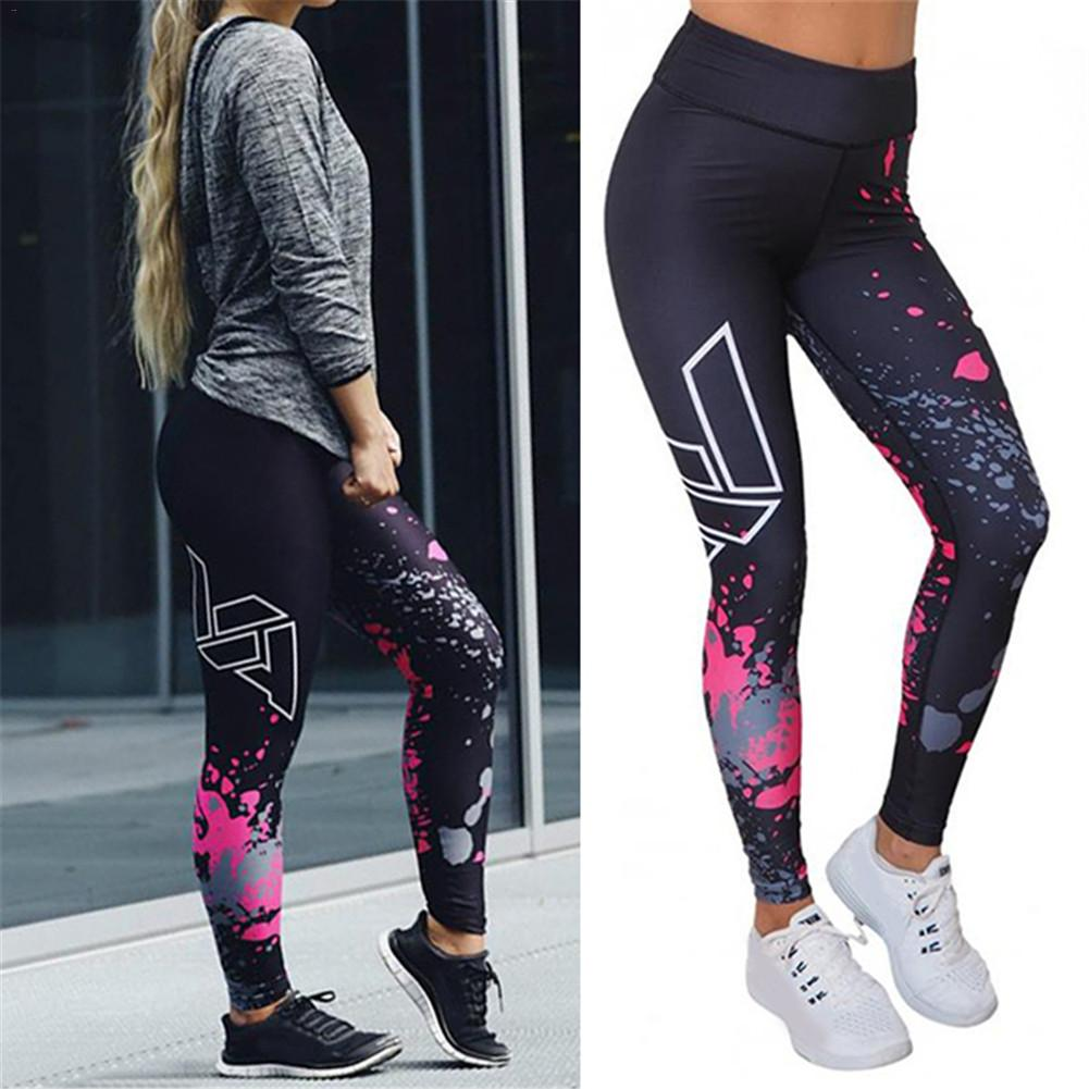 Patchwork Yoga Pants,Womens Printed Yoga Fitness Leggings Running Gym Stretch Sports Trousers by-NEWONESUN