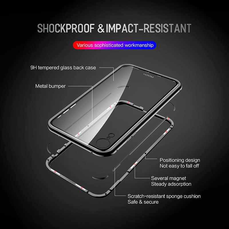 Funda de cristal de Metal magnético Rock para iPhone XR, funda antigolpes Ultra fina y suave para iPhone XR funda transparente