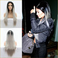 Kylie Jenner Gray Hair Wig Ombre 1B/Grey Long Straight Lace Front Heat Resistant Synthetic Women Wigs 180% Density Free Shipping