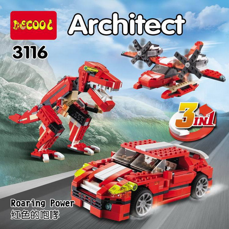 DECOOL City Architect 3 in 1 Creator Roaring Power Model Building Blocks Enlighten DIY Figure Toys For Children Compatible Legoe decool 3114 city creator 3in1 vehicle transporter building block 264pcs diy educational toys for children compatible legoe