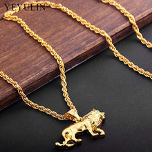 High Quality Alloy animal Lion Pendant Necklace Pure Gold Color Chain Hip-hop Necklace Jewelry For Men(China)