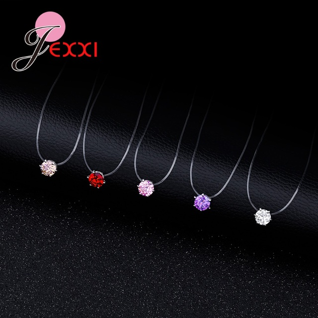 JEMMIN Transparent Rope Pendant Necklace 8 Colors Clear Cubic Zirconia S90 Silver Color Interface Popular Factory Price