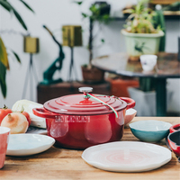 BCTJ27 Household Cast Iron 24cm Enamel Cooking Pot Nonstick Stew Soup Pot Thickened Flat Base Saucepan For Induction Cooker