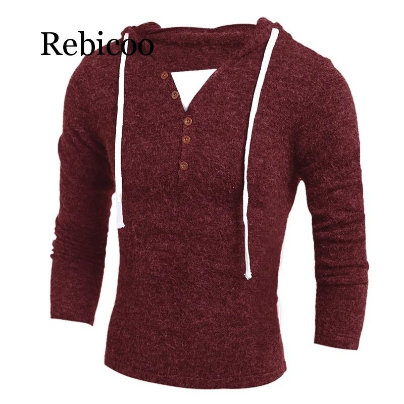 2019 New Men's Sweaters Fashion Design Solid Hooded Knit Sweater Coat Men Clothes Slim Fit Pullovers