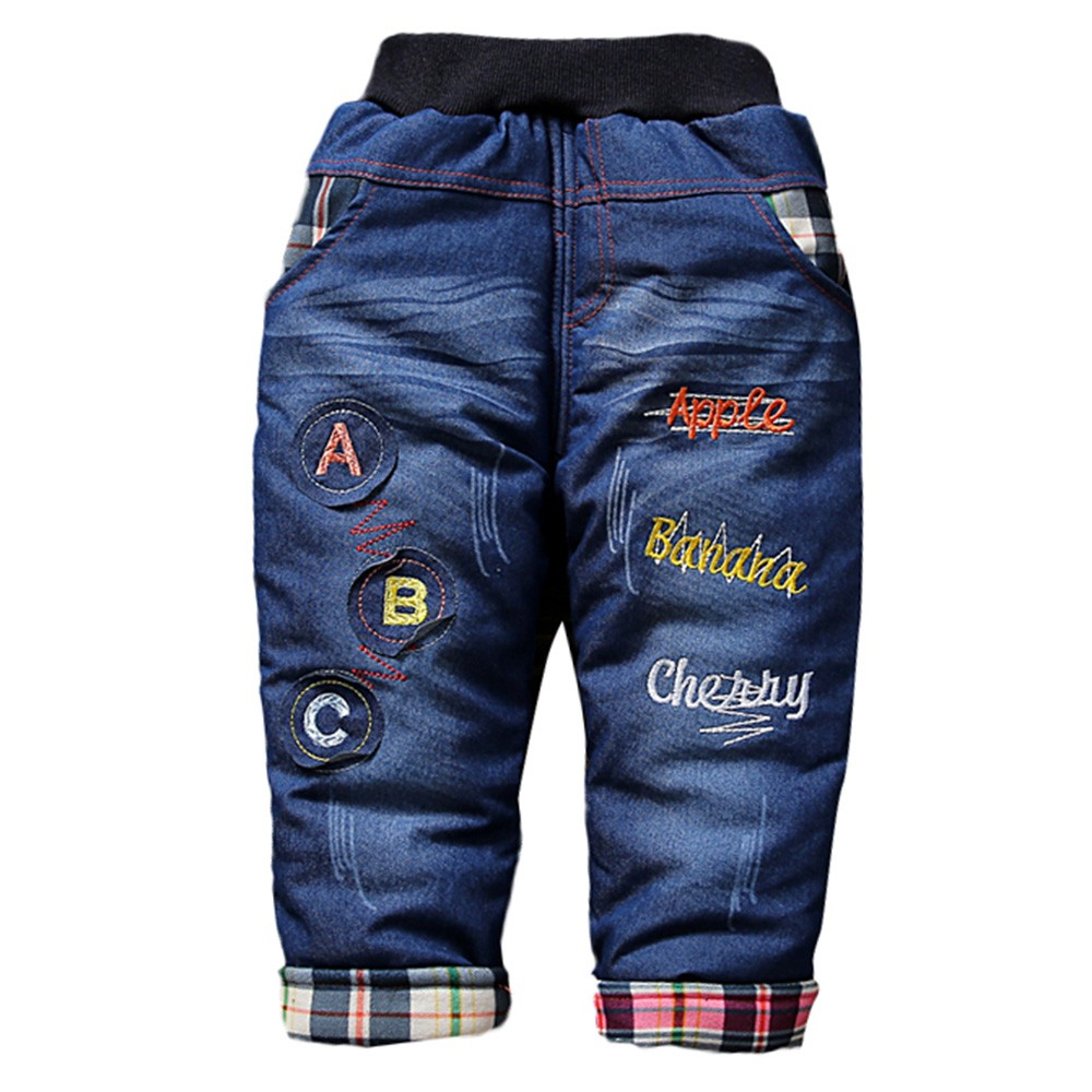 Thick Jeans Toddler Girls Boys Cartoon Smile Car Letter Thick Jeans Warm Trousers Pants  USPS Dropshipping