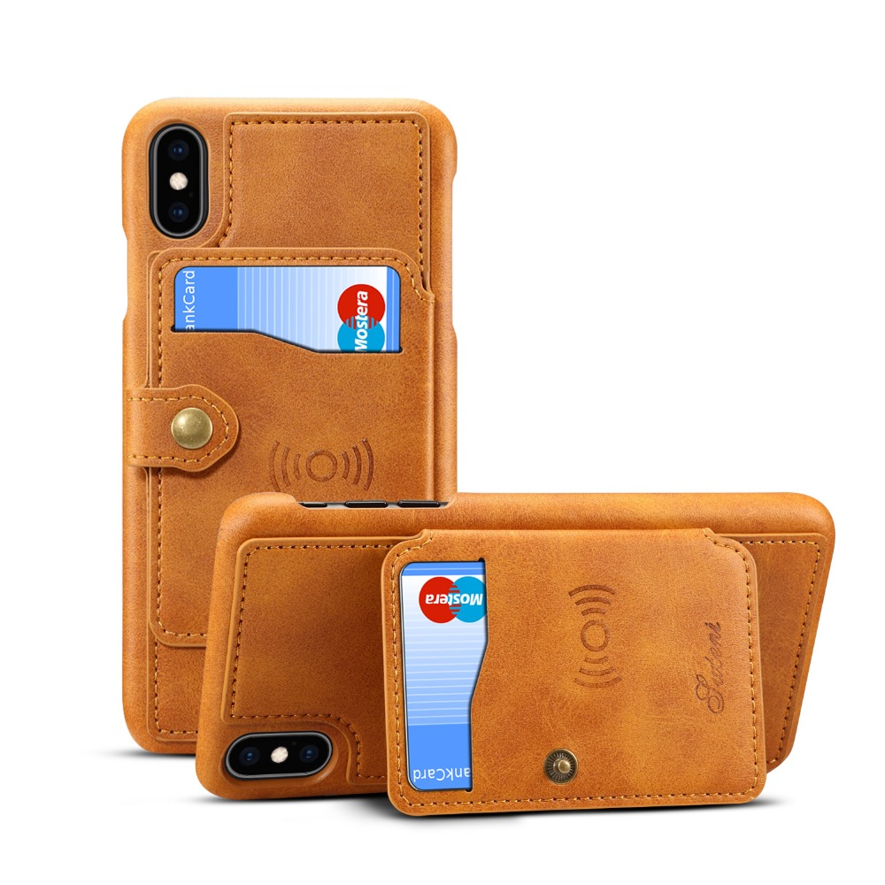 PU Leather Multi Card Holders Phone Cases for iPhone Xs Max XR X 8 7 6 6s Plus w/ Bracket Cover Shells Support Wireless charging