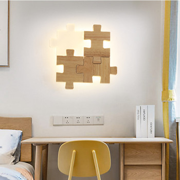 Nordic Wooden Bedside Led Wall Lamp Art Designer Jigsaw Puzzle Aisle Lovely Bedroom Study Wall Light Fixtures Free Shipping