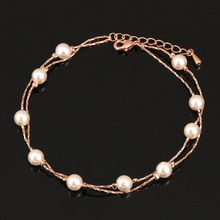 Charming Women Simulated Pearls Beads Anklet Foot Double Layers Summer Sandals Ankle Jewelry @M23