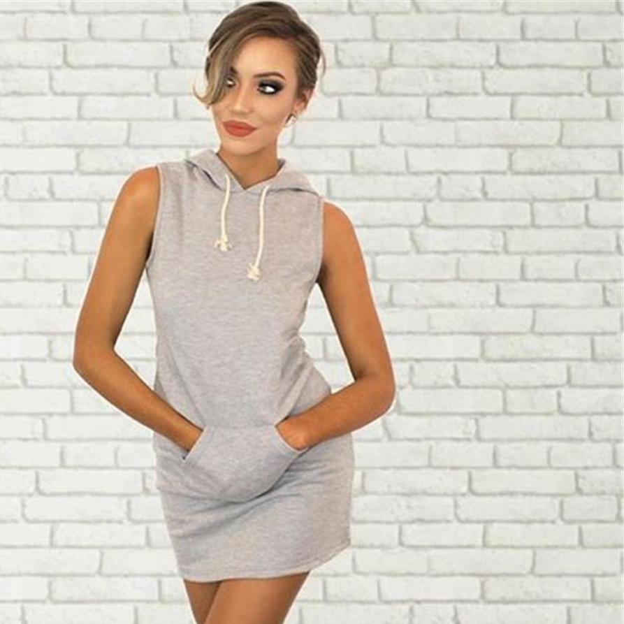 MUQGEW Fashion Womens Summer Casual Sleeveless Hoody Dress
