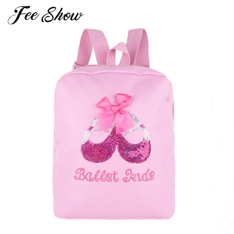 New Fashion Lovely Kids Girls Ballet Bag Students School Backpack Shiny Sequins Dance Toe Shoes Embroidered Sports Shoulder Bag
