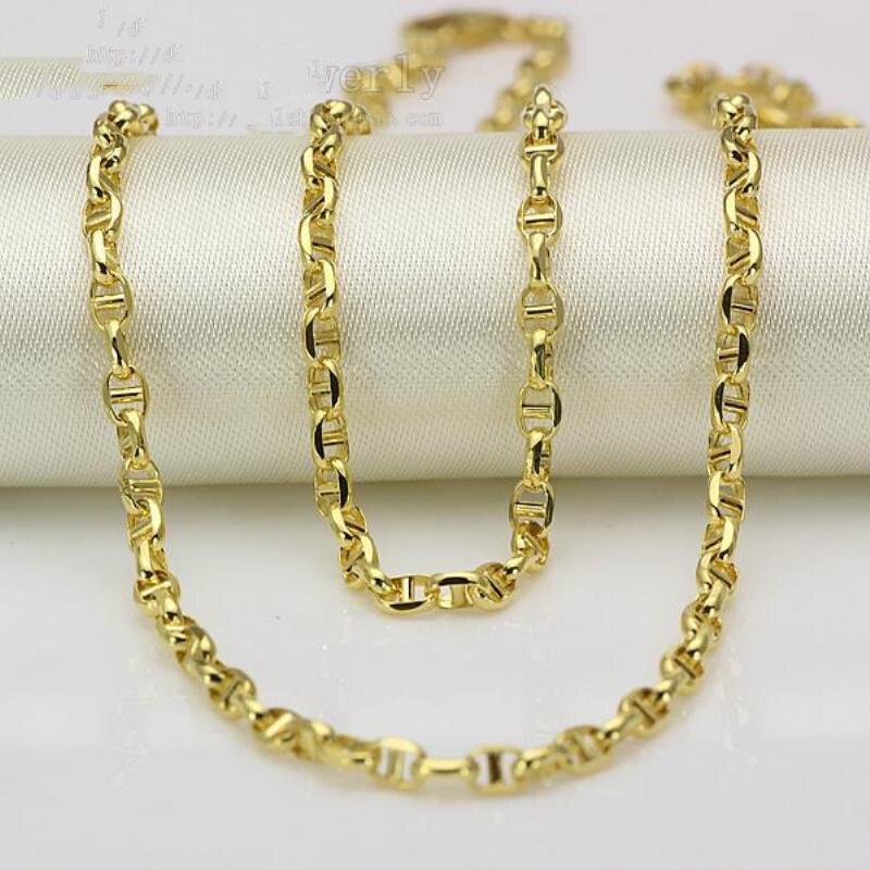 Nouveau Au750 pur 18K or jaune chaîne femmes hommes Stud Link collier 20 pouces