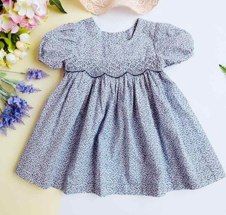 f58e3e8684b45 2019 summer girl smock dress sweet baby girl clothes embroidery flower kids  short sleeves dresses girls princess dress