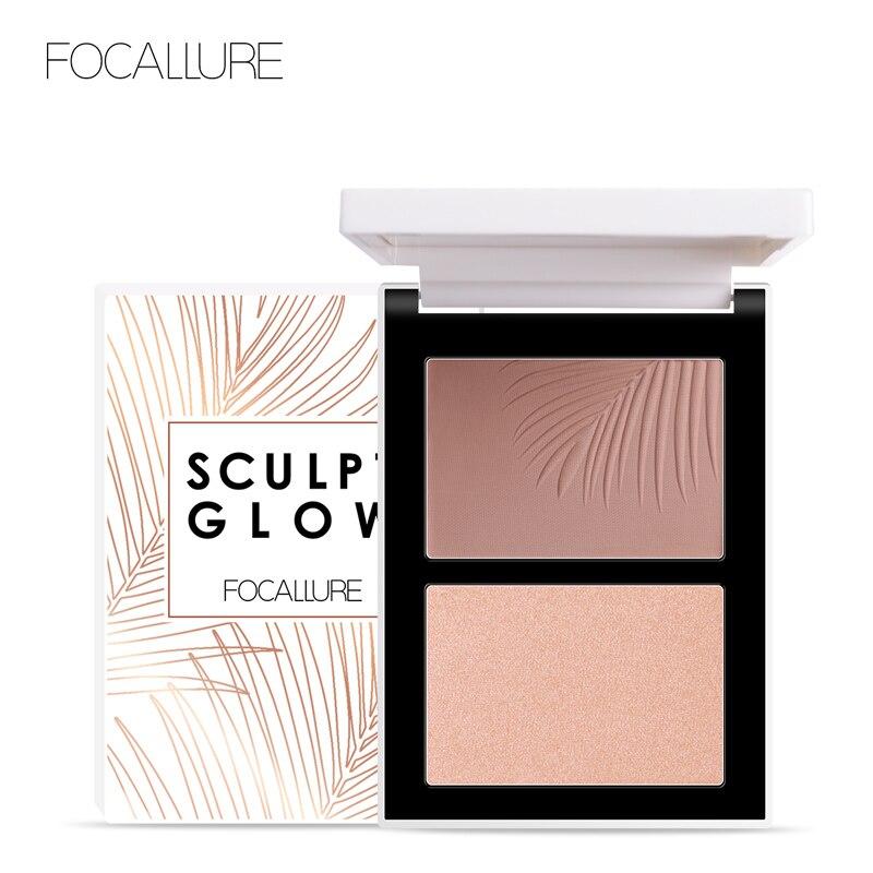 FOCALLURE Dupla Cabeça 3D Bronzer Highlighter Para Face Maquiagem Vara Textura Creme Contorno iluminador Maquiagem Marcador Bronzer