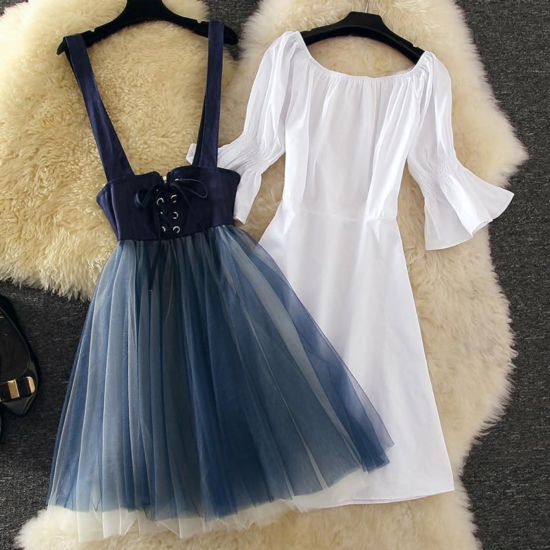 Long two piece suit in denim mesh dress