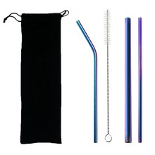 5pcs Eco Friendly Reusable Straw 304 Stainless Steel Metal Smoothies Drinking Straws Set with Brush & Bag