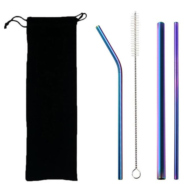 5pcs Eco Friendly Reusable Straw 304 Stainless Steel Straw Metal Smoothies Drinking Straws Set with Brush & Bag