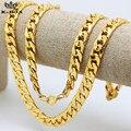 """10 мм / 30 """" реального 24 К желтого золота гальваническим сплошной кубинский снаряженная цепи мужские ожерелье хип-хоп ювелирных изделий звезда стиля"""