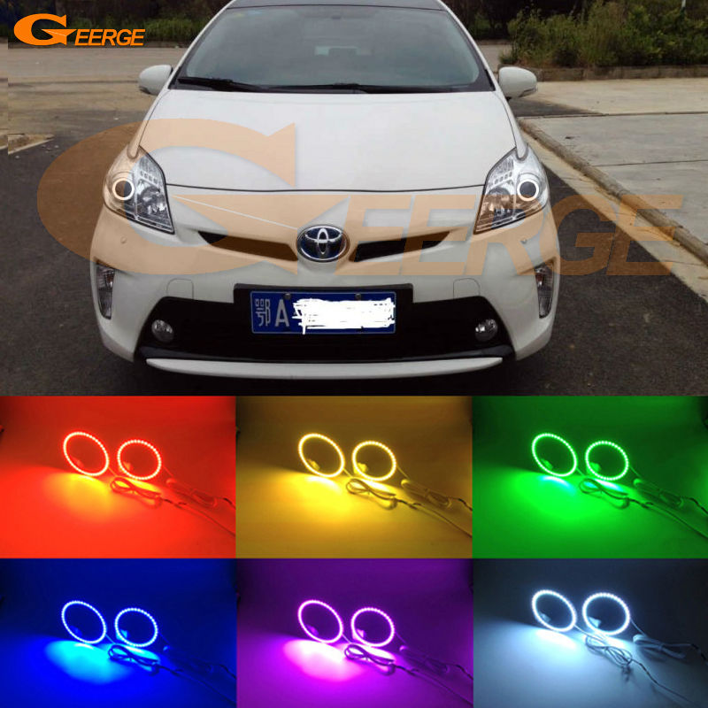 цена на For Toyota Prius 2010 2011 2012 2013 2014 2015 Halogen Headlight Excellent Multi-Color Ultra bright RGB LED Angel Eyes Halo Ring
