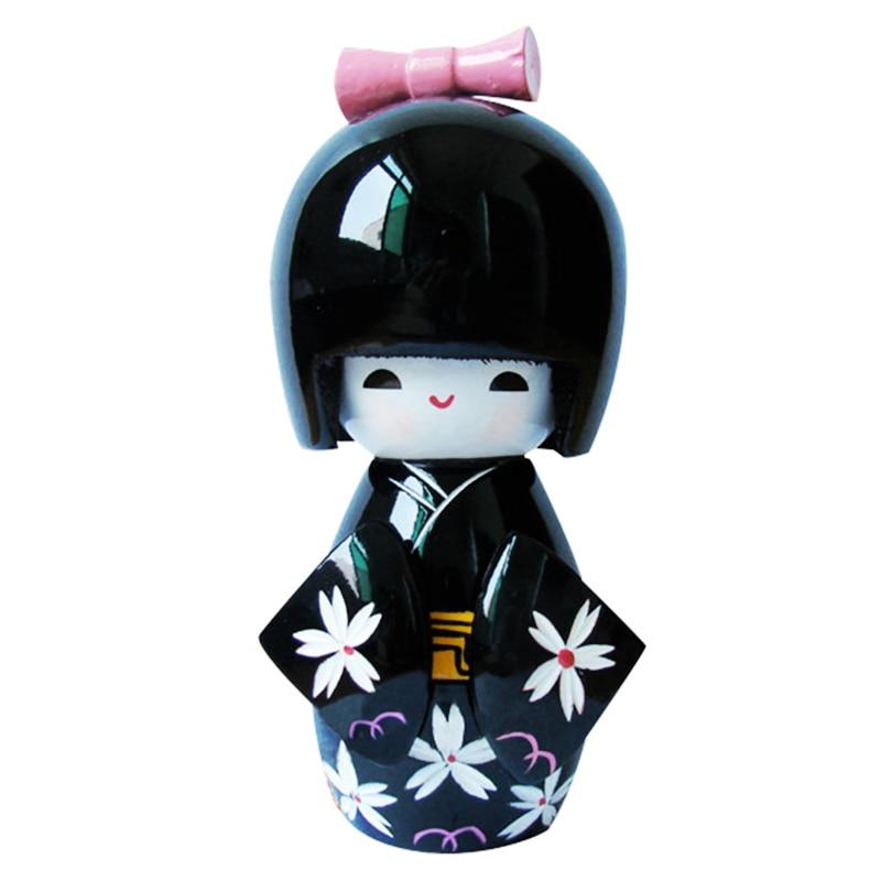 13cm Japanese Kokeshi Doll kimono Girls Painted Wooden Dolls Home Desk Decoration Black Gift