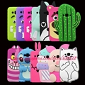3d silicio bolsillo perro cat candy frijoles cactus de la puntada suave de la historieta teléfono back case cover para samsung galaxy j3 2016 j320 j300