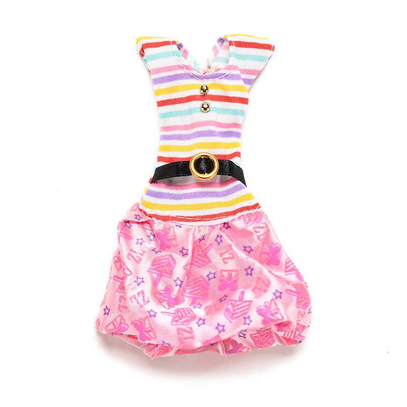 TOYZHIJIA 1 pieza moda de rayas con los colores del Arcoíris ropa para vestir muñecas estampado superior tutú falda vestidos para accesorios de muñecas