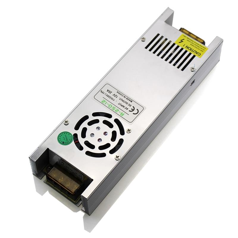 Transformátory LED ovladače DC 12V 20A 250 W Adaptér napájení LED pro přepínání LED pásů LED