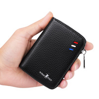 WILLIAMPOLO Credit Card Holder for Men 100% Real Leather Zipper Wallet Business Card Holder Leather PL185127