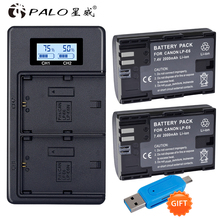 2x LP E6 LPE6 LP-E6 E6N Battery 2650mAh + LED Dual Charger For Canon EOS 5DS R 5D Mark II 5D Mark III 6D 7D 80D EOS 5DS R Camera 2x lp e6 battery lp e6n replacement batteries car charger for canon eos 60d 70d 5d mark ii mark iii mark iv 5ds 5ds r 6d 7d