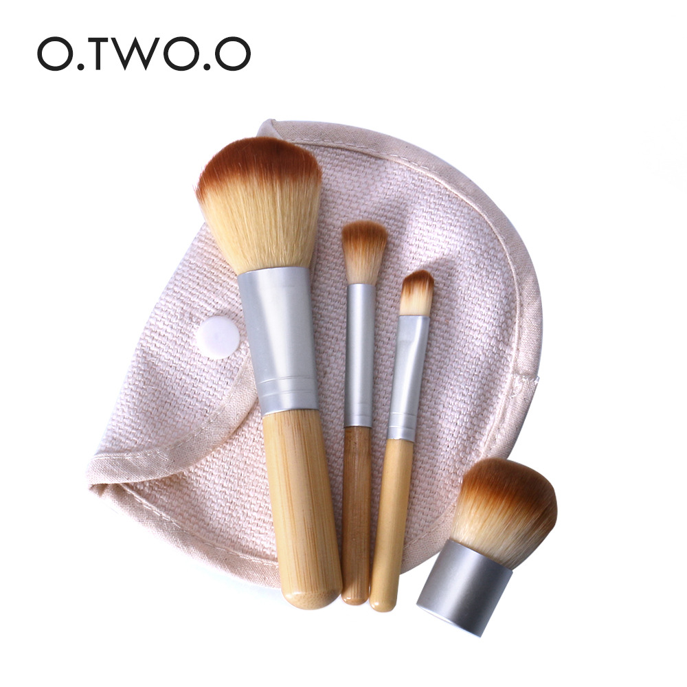 O.TWO.O 4PCS Bamboo Makeup Brushes Foundation Cream Brush Cosmetics Make Up Brush Face Powder Brush Women Beauty MakeUpTools