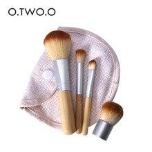 O.TWO.O 4PCS Bamboo Makeup Brushes Foundation Cream Brush Cosmetics Make Up Brush Face Powder Brush