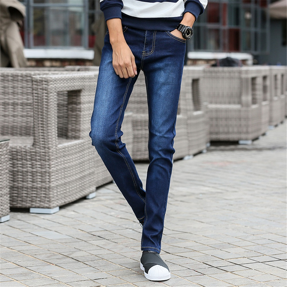 Men's Slim Fit Jeans Casual Straight Stretch Cotton Pants Mid Waist Skinny Pencil Jeans Blue for Men 8012 Size 27-36