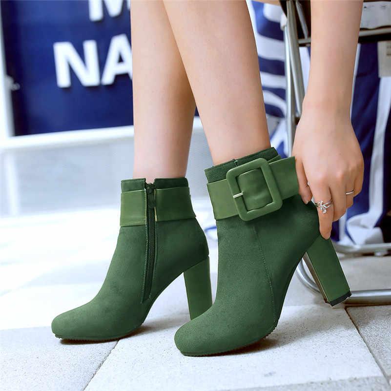 Meotina/осенние ботильоны женские полусапожки на Высоком толстом каблуке с пряжкой обувь на молнии с квадратным носком женские зимние зеленые большие размеры 33-43
