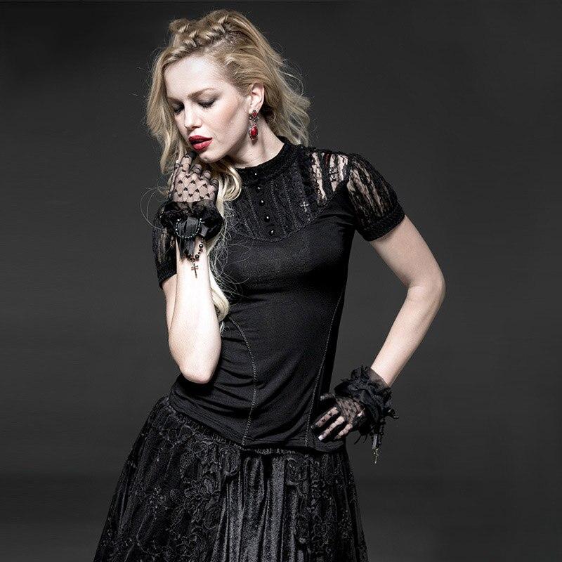 Steampunk nouveauté été noir Sexy dentelle fleur femmes T-Shirts gothiques manches courtes tricoté élastique t-shirt dessus de chemise