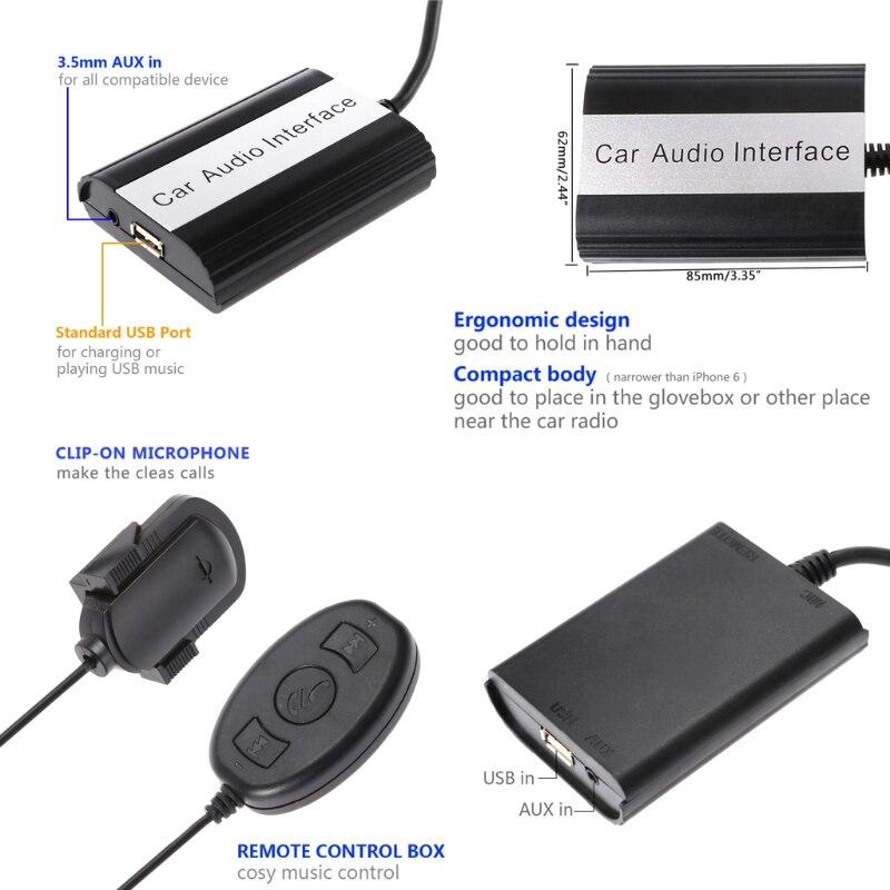 Kit mains libres Bluetooth pour voiture Interface adaptateur MP3 AUX pour Mazda 3 5 6 RX8 SPD - 3