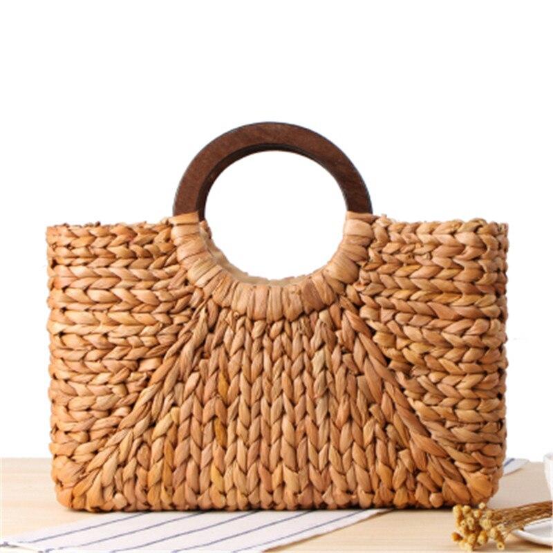 Wooden ring Portable Women straw Bag Korean Foreign of Corn Skin RETRO Art Beach Bag Travel Pictures Props Straw Bag Moon Bag Сумка