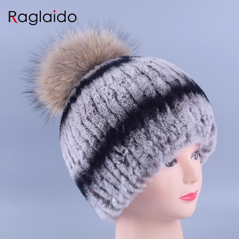 Winter Pompom Hats for Women Real Fur Fluffy Rex Rabbit Beanie Hats Handmade Caps Raccoon Fur Beanies Warm Casual Tops LQ11141