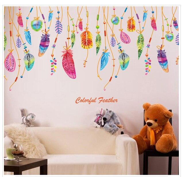Raamstickers Voor Kinderkamer.Kinderkamer Slaapkamer Glas Stickers Gekleurde Veren Glazen Ramen