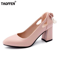 TAOFFEN Size 31 43 Sexy Office Lady High Heel Shoes Women Beading Bowknot Thick Heels Pumps