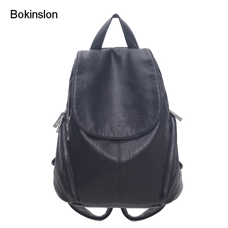 Bokinslon Women Bag Backpack Split Leather Casual Backpack Ladies Fashion Simple Female Brand Backapacks