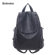 Bokinslon Для женщин сумка рюкзак Разделение кожа Повседневное рюкзак Дамская мода простой Женский Бренд backapacks