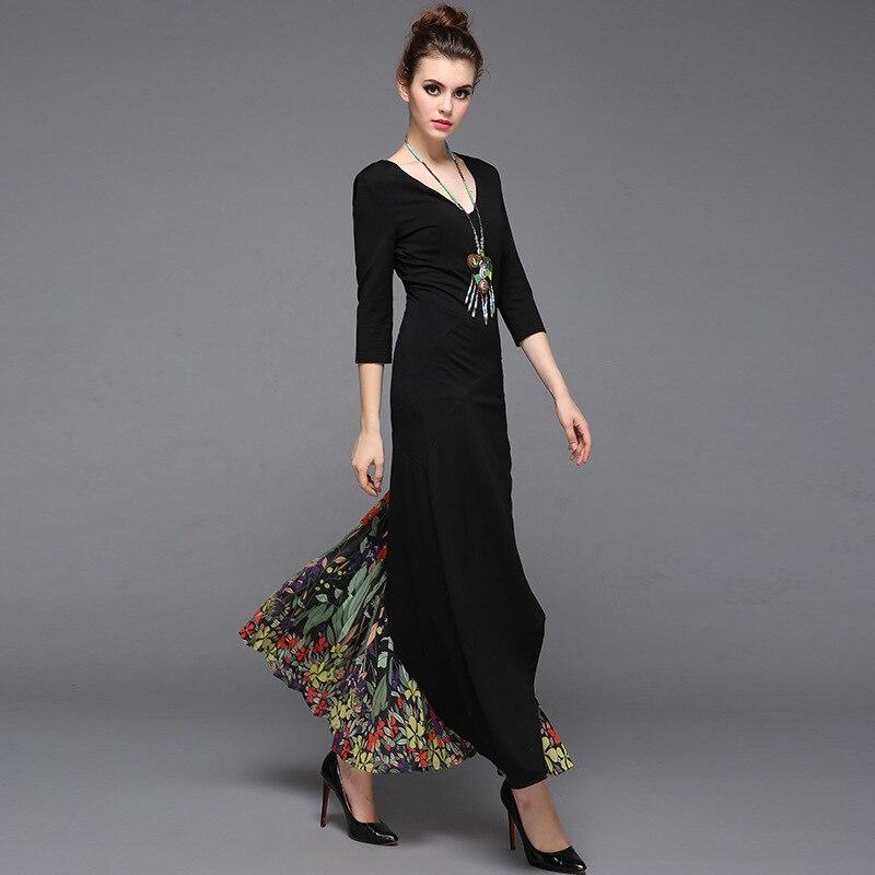 Vintage col en v coton mousseline de soie Patchwork plissé Maxi robe pour automne 2018 femmes élégant Floral imprimé plissé longue robe XXL