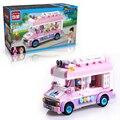 Ciudad enlighten serie bloques de construcción camión de helados móvil fijó 213 unids ladrillos juguetes para los niños regalo 1112 regalos de navidad
