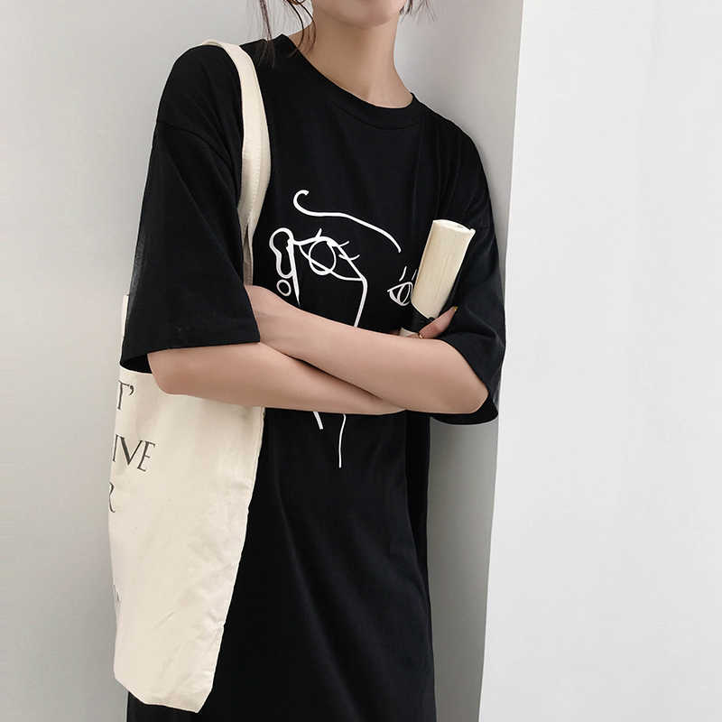 Z-ZOUX Women Dress Abstract Printing Half Sleeves Long Dress Solid Split T  Shirt Dress Girls Loose Leisure Summer Dresses 2018