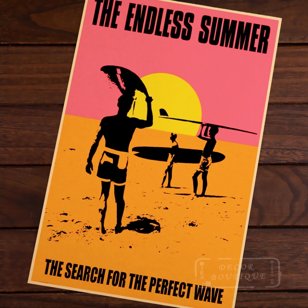Endless Summer For Sea Perfect Wave Surf Sports Travel Vintage Retro Poster Decorative Wall Canvas Stickers