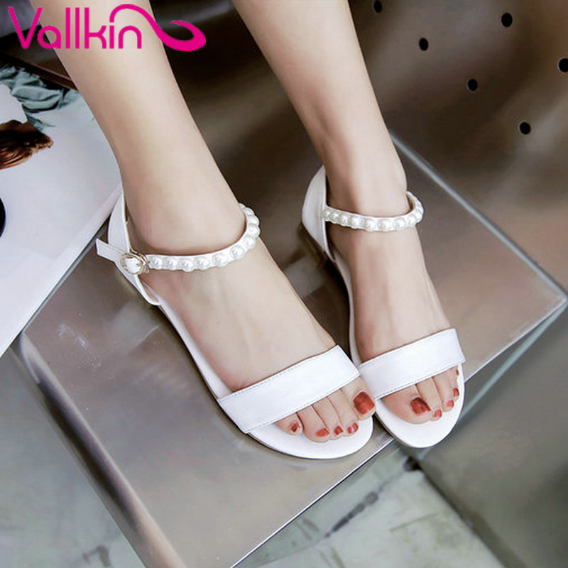 VALLKIN 2017 Women Sandals Low Heels Sandals Beading Buckle Strap Summer Shoes PU Peep Toe White Woman Casual Shoes Size 34-43  ephemeral ladies zip sandals with heels buckle strap open toe summer casual shoes woman spongy insole plus size 11 12 white pink