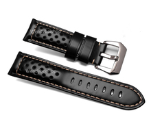 22 24 26mm Wholesale Men Women Black Brown Real Leather Handmade Thick VINTAGE Wrist Watch Band Band Strap Belt Brushed Buckle